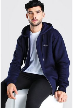 Navy MAN Signature Zip Through Hoodie