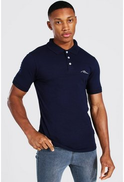 Navy MAN Signature Muscle Fit Polo