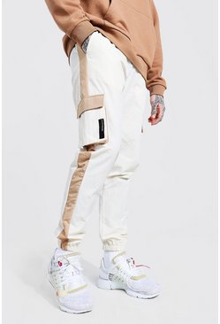 Stone beige Crinkle Shell Colour Block Side Panel Cargo Pants