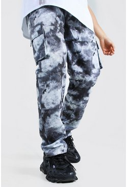 Black Relaxed Fit Twill Marble 3D Pocket Cargo Pants