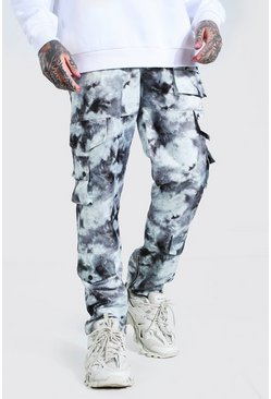 Black Fixed Waistband Relaxed Fit Twill Zip Cargo Pants