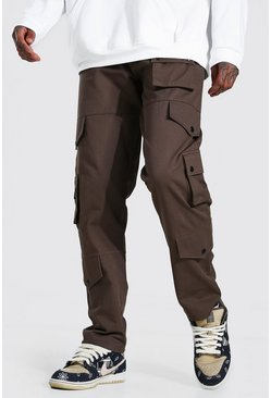 Chocolate brown Fixed Waistband Relaxed Fit Twill Cargo Pants