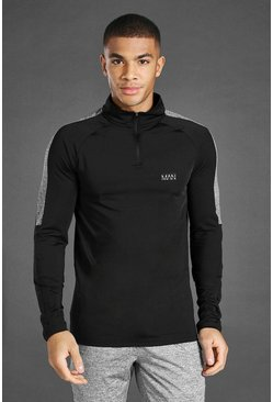 Black MAN Active Marl Panel Poly 1/4 Zip Funnel Neck Top