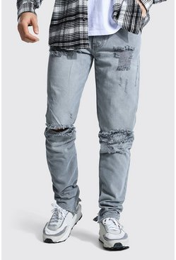 Ice grey Tapered Rigid Stacked Leg Exploded Knee Jean