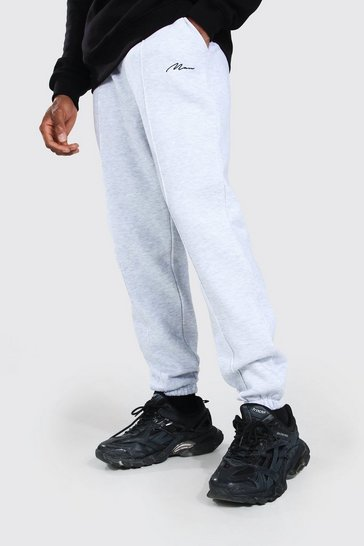 Ash grey Man Signature Loose Fit Pintuck Joggers