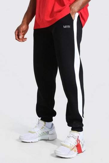 Black Original Man Double Waistband Loose Fit Joggers