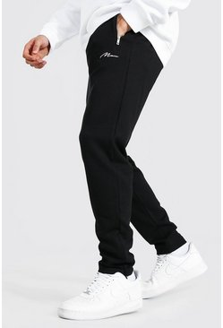 Black Man Signature Regular Scuba Joggers With Zips