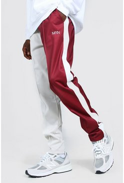 Burgundy red Original Man Spliced Slim Tricot Joggers
