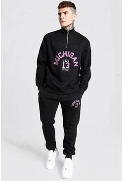 Black Oversized Michigan Print Half Zip Tracksuit
