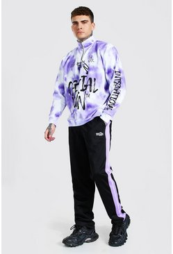 Lilac purple Oversized MAN Graffiti Half Zip Tricot Tracksuit