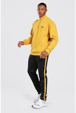 Mustard yellow Man Official Oversized Tricot Trainingspak Met Korte Rits