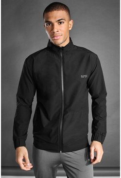 Black MAN Active Funnel Neck Zip Through Jacket