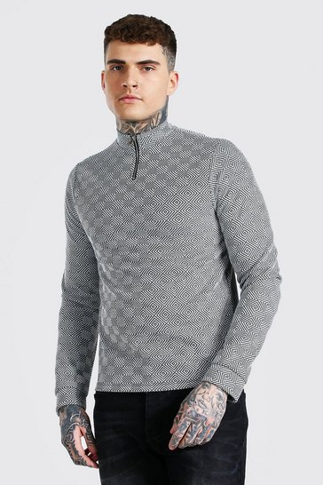 Black Jacquard Knit Half Zip Funnel Neck Jumper