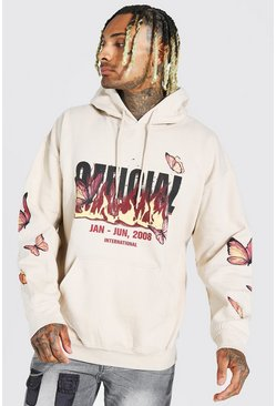 Sand Oversized Butterfly And Flame Print Hoodie