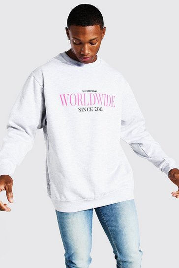 Light grey grey Oversized Worldwide Print Sweatshirt