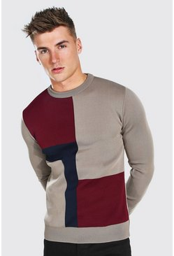 Taupe beige Colour Block Muscle Fit Knitted Jumper