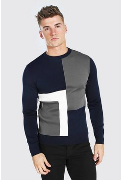 Pull fit color block, Navy marine