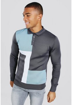 Pale blue blue Colour Block Muscle Fit Long Sleeve Polo