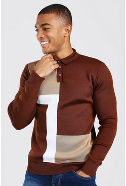 Chocolate brown Colour Block Muscle Fit Long Sleeve Polo