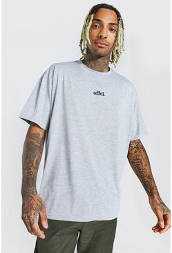 Grey marl grey Official Oversized Embroidered T-Shirt