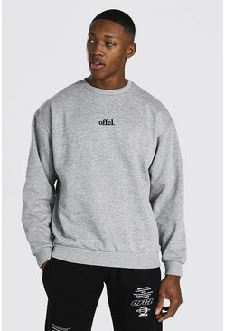 Grey marl grey Official Oversized Embroidered Sweater
