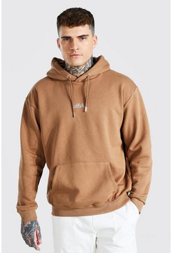 Brown Official Oversized Embroidered Hoodie
