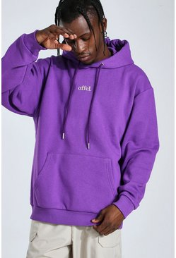 Sweat à capuche oversize brodé Official, Purple violet