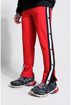 Red Side Tape Popper Tricot Joggers