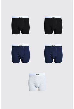 Multi Plus Size 5 Pack MAN Dash Mixed Trunk