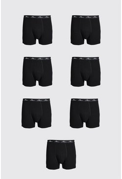 Black Plus Size 7 Pack MAN Script Trunk