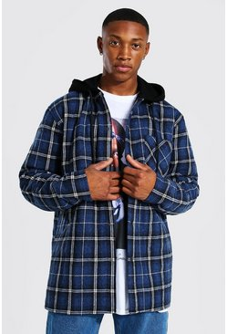 Navy Quilted Utility Check Overshirt With Hood