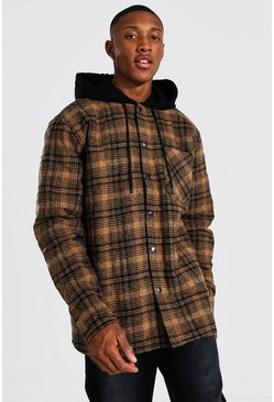 Brown Quilted Utility Check Overshirt With Hood