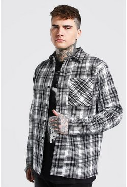 Ecru white Quilted Check Overshirt