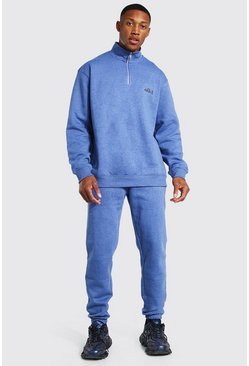 Oversized Overdyed Funnel Neck Tracksuit, Navy azul marino