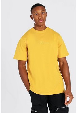 Mustard yellow MAN Signature Embroidered T-Shirt