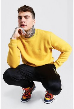Mustard yellow MAN C Embroidered Sweater