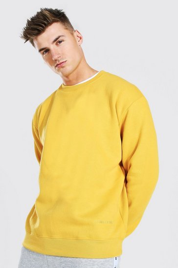 Mustard yellow MAN Official Oversized Embroidered Sweatshirt