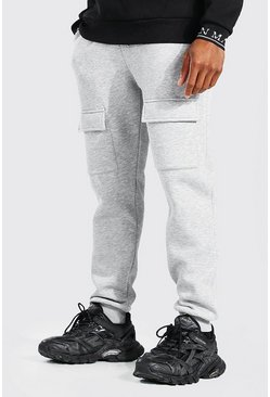 Grey Front Panelled Slim Cargo Jogger