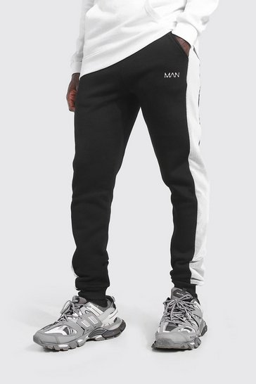 Black Original MAN Skinny Mesh Side Panel Joggers