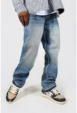 Antique blue Straight Leg Rigid Distressed Hem Jean