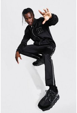 Black Slim Fit M Tricot Tape Funnel Tracksuit