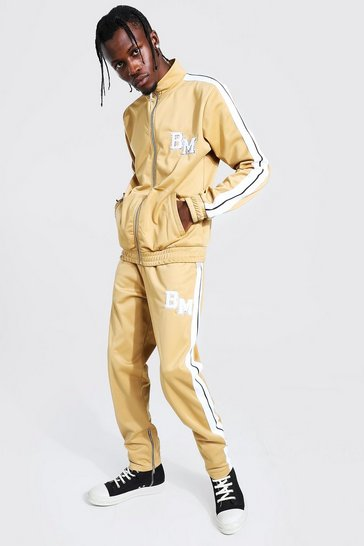 Taupe beige Slim Fit BM Tricot Tape Funnel Tracksuit