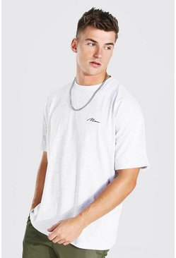 Ash grey Oversized MAN Signature T-Shirt