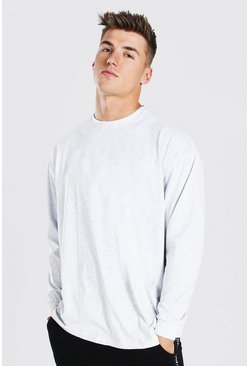 Ash grey Oversized Long Sleeve Crew Neck T-Shirt