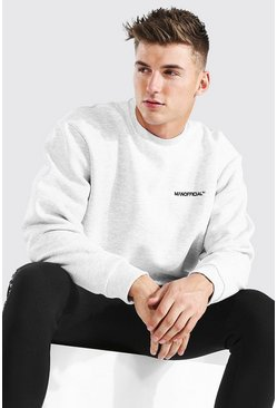 Ash grey Oversized MAN Official Embroidered Sweatshirt