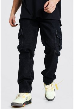 Washed black Straight Leg Side Zip Hem Cargo Jean