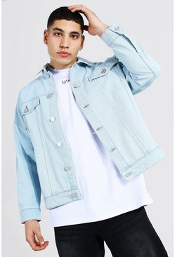 Light blue blue Boxy Fit Distressed Denim Jacket