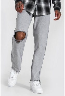 Ice grey Straight Leg Exploded Knee Frayed Hem Jean