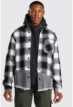 Grey Denim Spliced Check Over Shirt