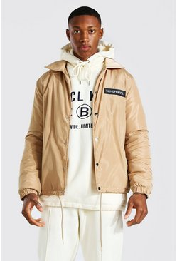 Stone beige MAN Official Nylon Faux Fur Lined Coach Jacket